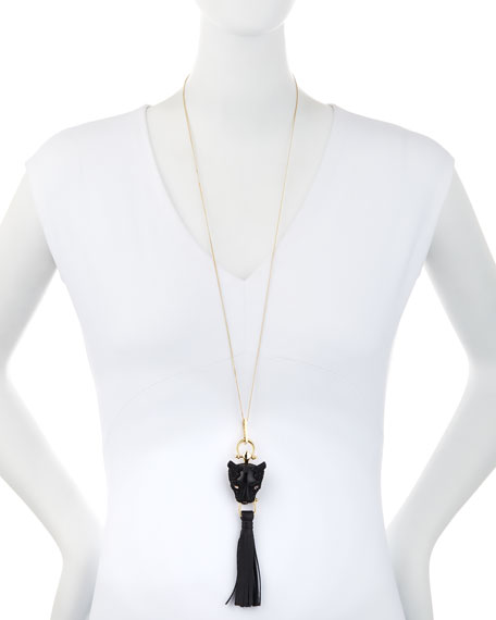 Crystal Panther Tassel Necklace, Black/Gold
