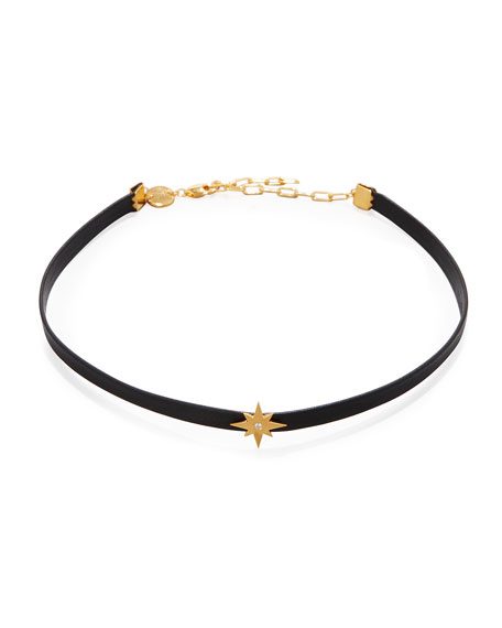 Ivy Diamond Star Leather Choker Necklace