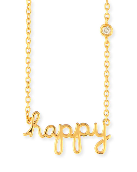 SHY by SE Happy Pendant Diamond Bezel Necklace