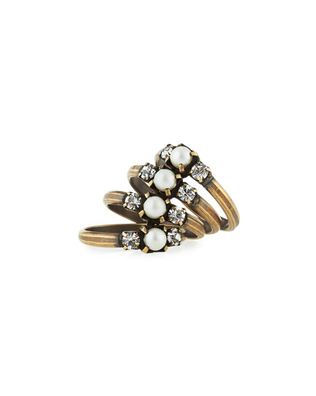 Bronson Stacked Midi Ring, Size 4