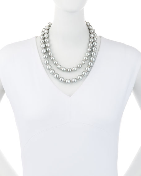 pearly two-strand necklace, gray/multi