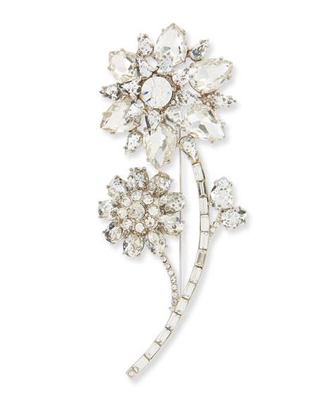 large crystal flower pin