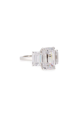 Fantasia by DeSerio Three-Stone Emerald-Cut Cubic Zirconia Crystal Ring