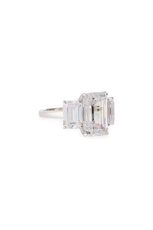 Fantasia by DeSerio Three-Stone Emerald-Cut Cubic Zirconia Crystal Ring