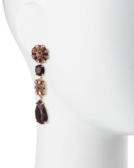crystal statement linear earrings, purple/multi