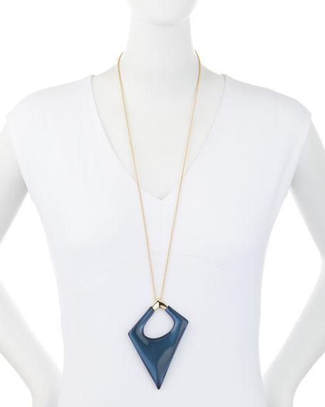 Asymmetric Statement Pendant Necklace, Blue Velvet
