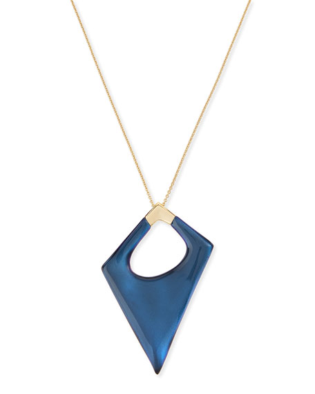 Alexis Bittar Asymmetric Statement Pendant Necklace, Blue Velvet