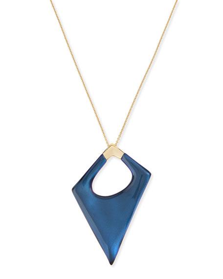 Alexis Bittar Asymmetric Statement Pendant Necklace, Blue Velvet