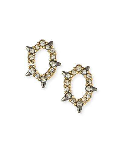Crystal-Encrusted Spiked Earrings