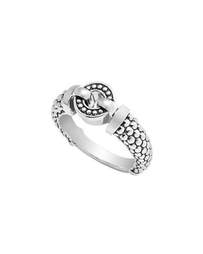 Slim Enso Caviar Ring, Size 7