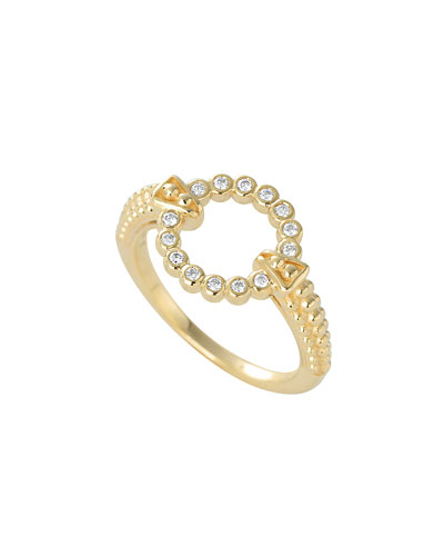 18K Gold Covet Circle Ring with Diamonds, Size 7