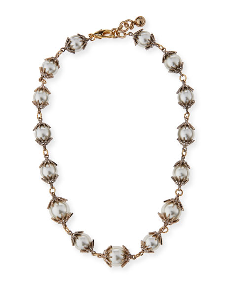 Electra Pearly Crystal Cap Necklace