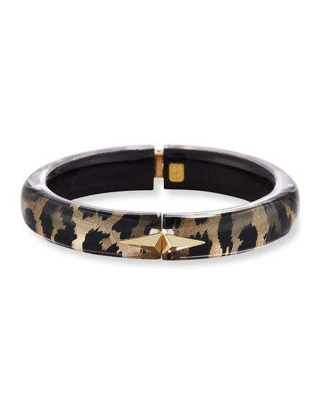 Leopard-Print Pyramid Stud Bangle