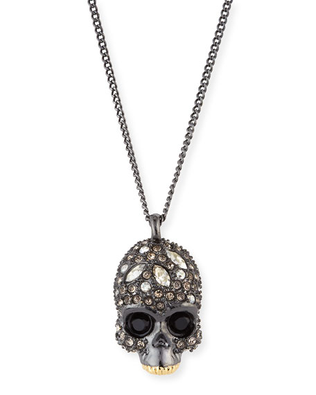Crystal-Encrusted Skull Pendant Necklace