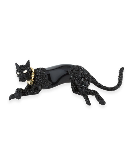 Crystal Panther Pin, Black