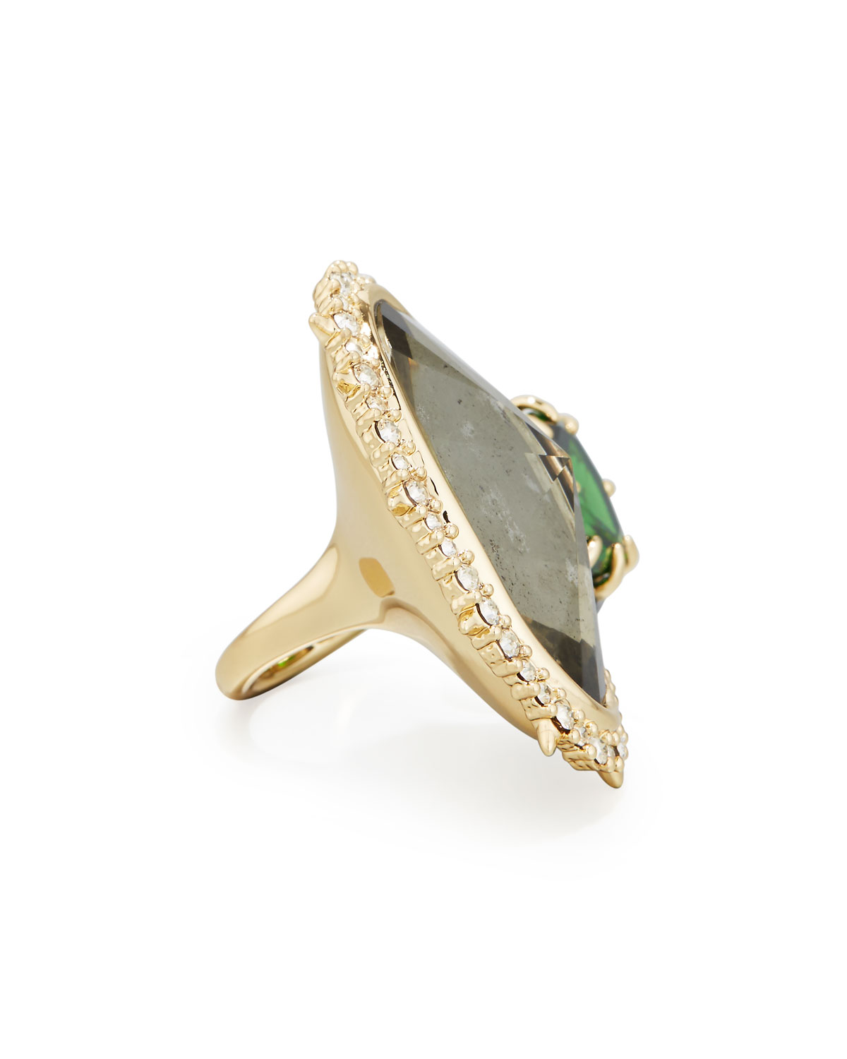 Alexis Bittar Pyrite & Emerald Cubic Zirconia Cocktail Ring Z0BZffX9
