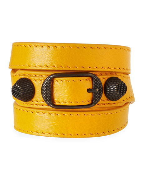 Giant 12 Leather Stud & Buckle Belt Bracelet