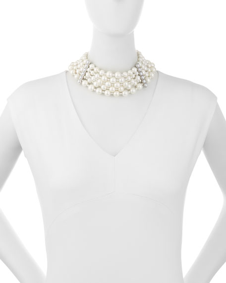 Pearly Collar Statement Necklace