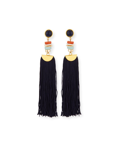 Indigo Tassel Drop Earrings