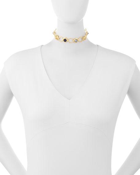 Crystal Station Choker Necklace, Blue