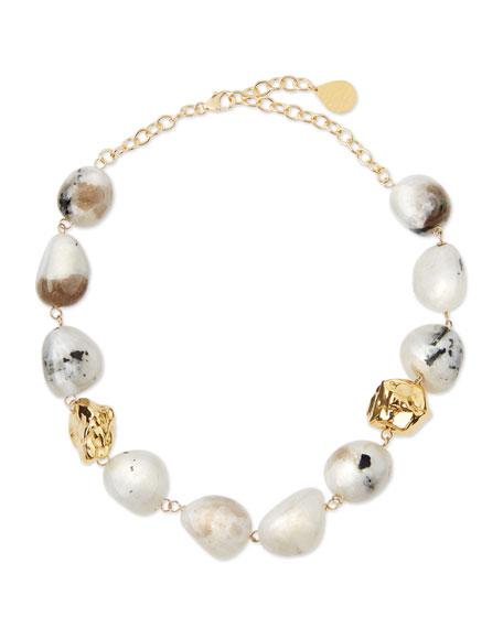 Devon Leigh Snow Leopard Moonstone Nugget Necklace