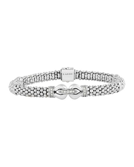 6mm Sterling Silver Diamond Derby Bracelet, 7""