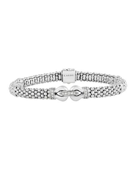 """6mm Sterling Silver Diamond Derby Bracelet, 7"""""""