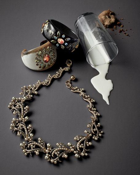 Utamaduni Light Horn & Crystal Cuff Bracelet