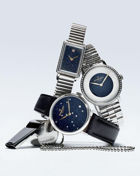 Sandstone Stainless Steel Bracelet Watch with Diamonds
