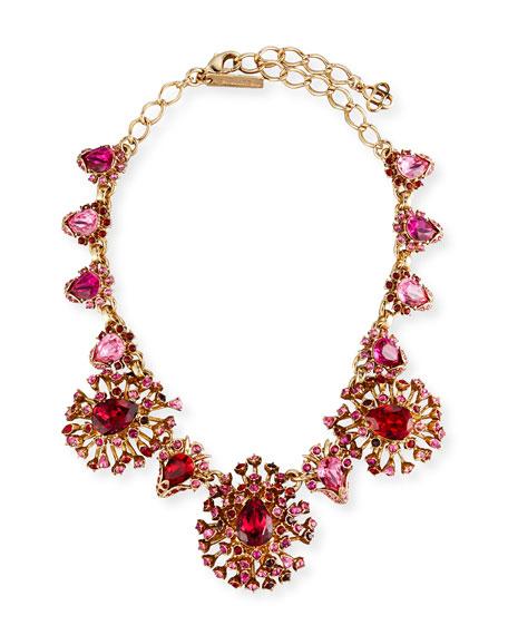 Oscar de la Renta Tiered Crystal Necklace, Hot