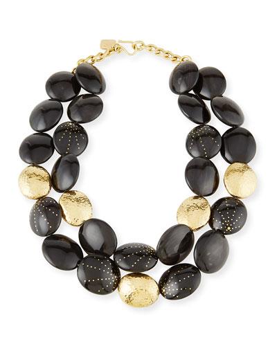 Burudani Two-Strand Necklace, Black