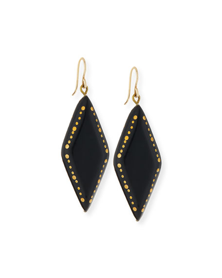 Ashley Pittman Kaimu Studded Dark Horn Drop Earrings