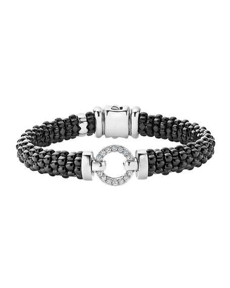 Lagos Black Caviar Ceramic Bracelet with Diamond Circle