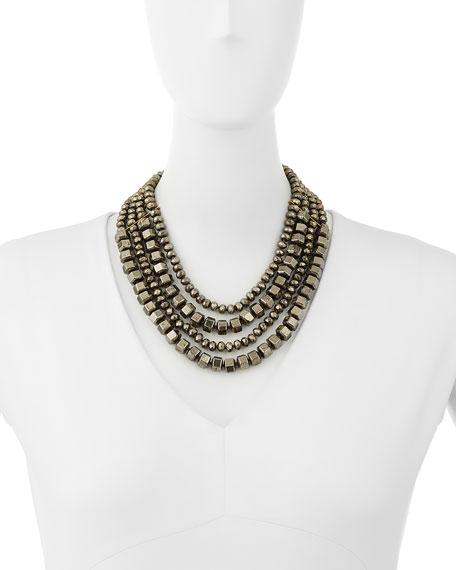 Four-Strand Beaded Pyrite Necklace