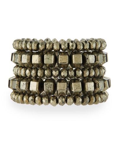 Beaded Pyrite Stretch Bracelet
