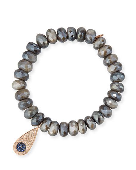 Sydney Evan 8mm Beaded Corundum Bracelet with Sapphire & Diamond Flower Eye Charm RbwXsXv