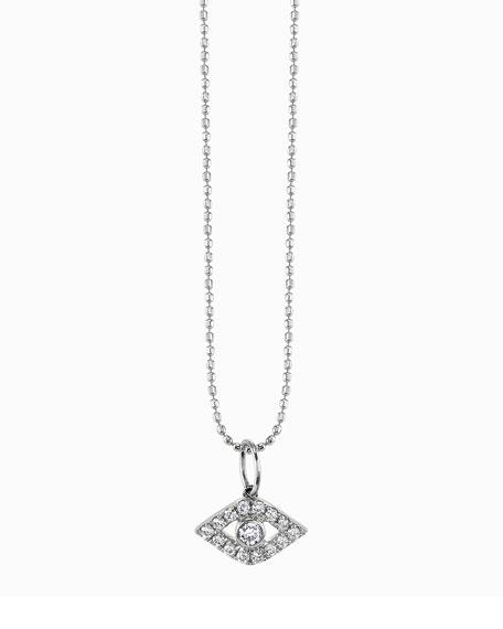 Sydney Evan Large Evil Eye Diamond Pendant Necklace
