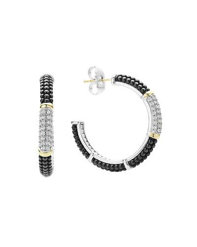 Black Caviar Hoop Earrings with Diamonds