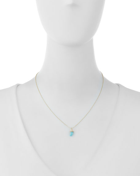 14K Turquoise Horn Pendant Necklace with Diamonds