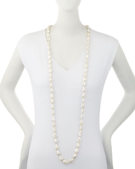 Long Baroque Pearl Necklace, 52""