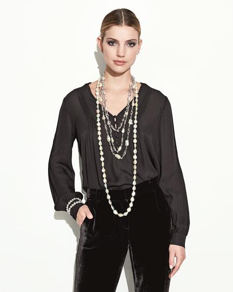 "Long Baroque Pearl Necklace, 52"""