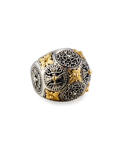Carved Sterling Silver & 18K Floral Dome Ring