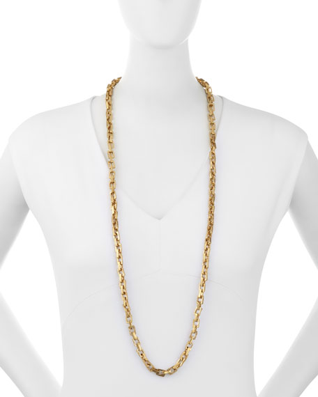 Hisia Long Hammered Bronze Link Necklace, 40""