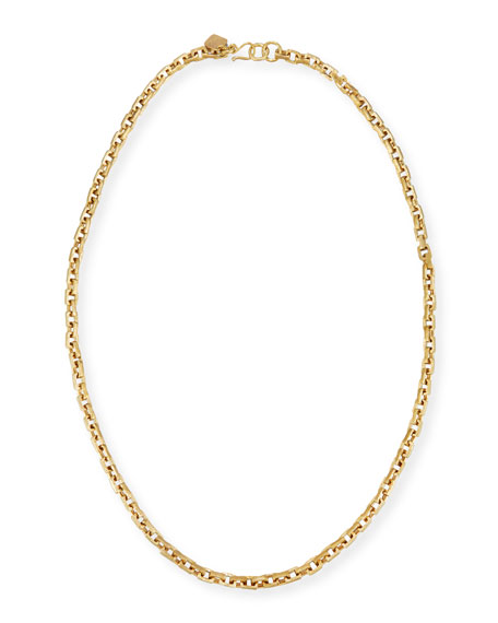 Ashley Pittman Hisia Long Hammered Bronze Link Necklace,