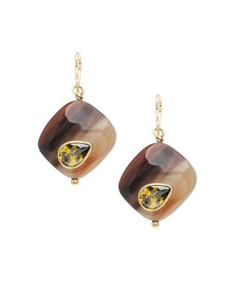 Sanamu Mixed Horn & Zircon Drop Earrings