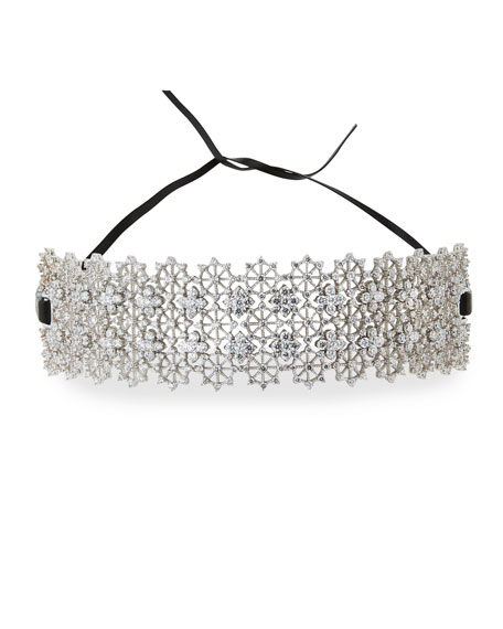 Monarch Chantilly Leather XL Choker Necklace with Crystals