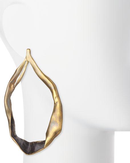 Large Teardrop Hoop Earrings, Vintage Gold