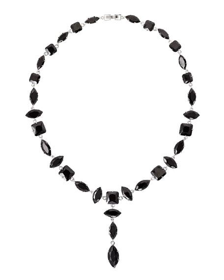 Jagged Edge Marquis Crystal Y-Drop Necklace, Jet