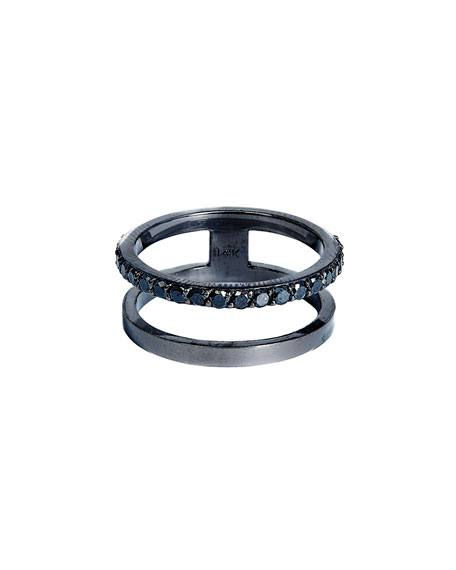 Reckless Stacked Ring with Black Diamonds, Size 7