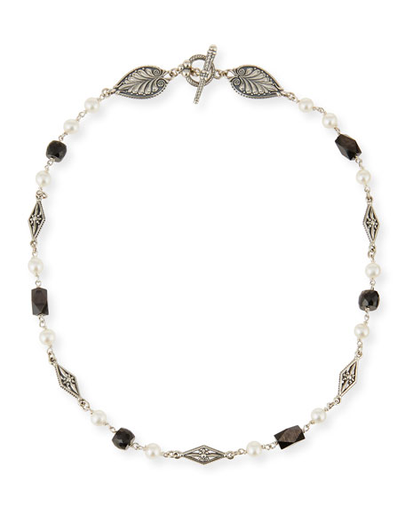 Konstantino Moonstone & Pearl Carved Station Necklace